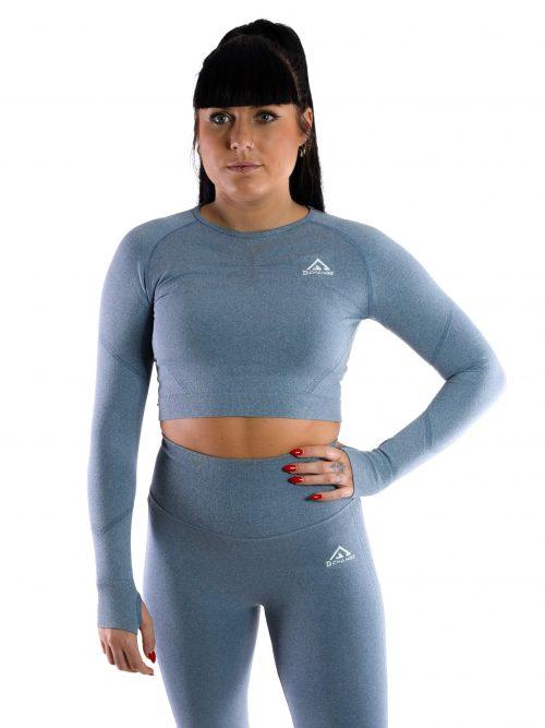 Steel blue long sleeve crop top
