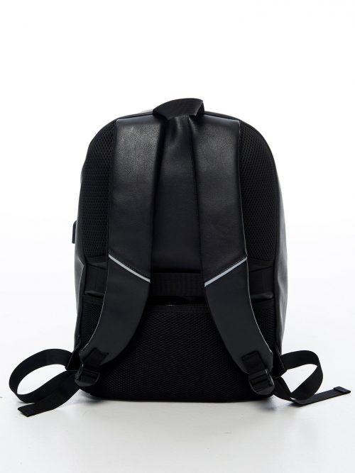Kombiryggsäck i svart konstläder