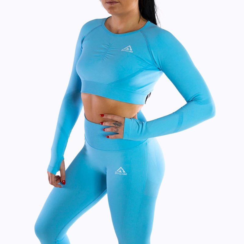 Maya blue long sleeve crop top